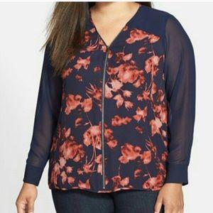 Vince Camuto Floral Zip Front Blouse Plus Size 3X